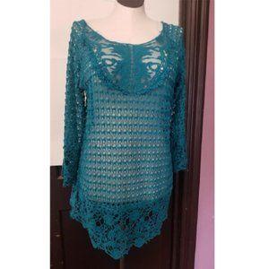 Umgee Boho Crochet Knitted Tunic Top Sz Lg/XL